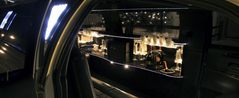 Champagne Set up in Limousine for Valentine's Day